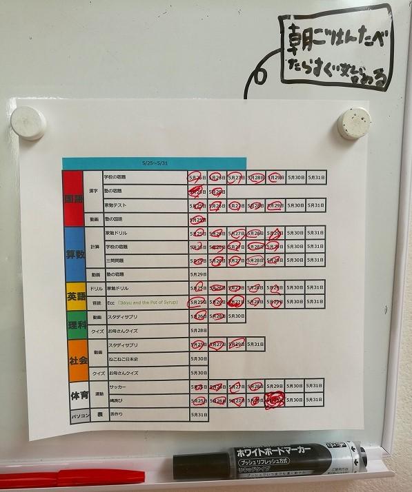 小学生が作った学習計画表